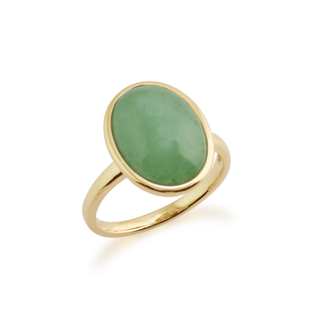 Classic Green Jade Bezel Stud Earrings & Cocktail Ring Set Image 3