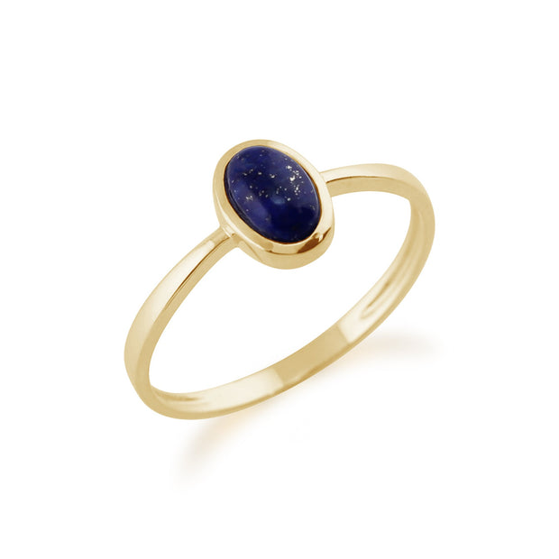 Gemondo 9ct Yellow Gold 0.56ct Lapis Lazuli Single Stone Oval Framed Ring Image 2