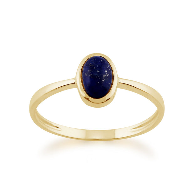 Gemondo 9ct Yellow Gold 0.56ct Lapis Lazuli Single Stone Oval Framed Ring Image 1