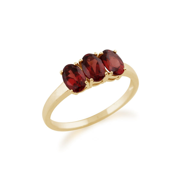 Gemondo 9ct Yellow Gold 1.66ct Mozambique Garnet Trilogy Ring Image 2