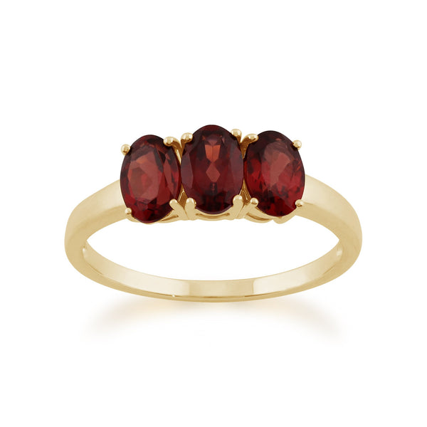 Gemondo 9ct Yellow Gold 1.66ct Mozambique Garnet Trilogy Ring Image 1