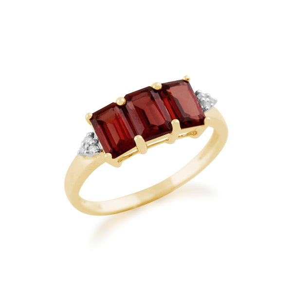 Gemondo 9ct Yellow Gold 2.10ct Mozambique Garnet & Diamond Trilogy Ring Image 2