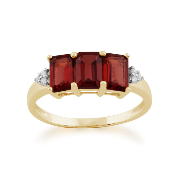 Gemondo 9ct Yellow Gold 2.10ct Mozambique Garnet & Diamond Trilogy Ring Image 1