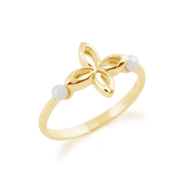 Gemondo 9ct Yellow Gold 0.20ct Pearl Floral Design Ring Image 2