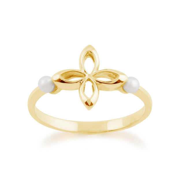 Gemondo 9ct Yellow Gold 0.20ct Pearl Floral Design Ring Image 1