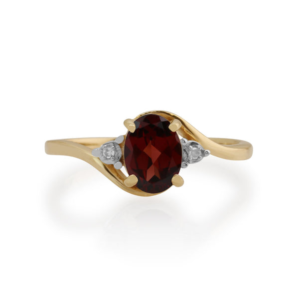 Gemondo 9ct Yellow Gold 0.93ct Garnet & Diamond Ring Image 2