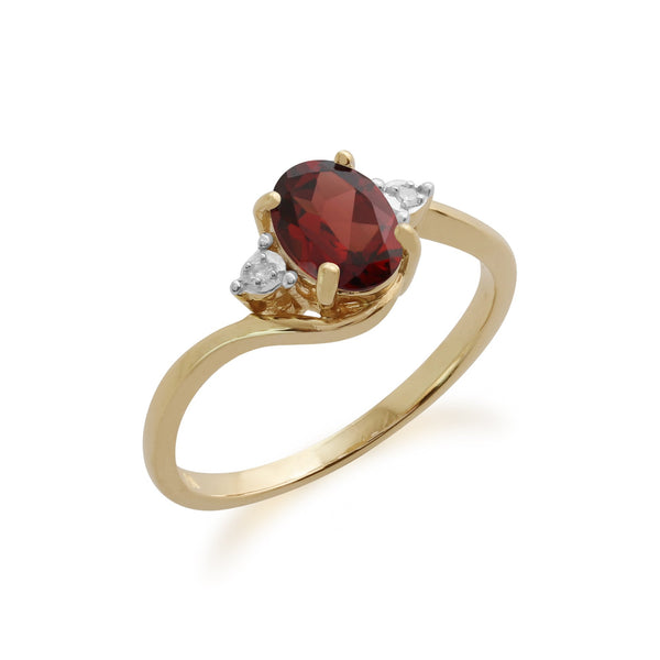 Gemondo 9ct Yellow Gold 0.93ct Garnet & Diamond Ring Image 1
