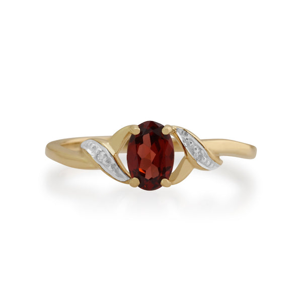 Gemondo 9ct Yellow Gold 0.55ct Garnet & Diamond Ring Image 2