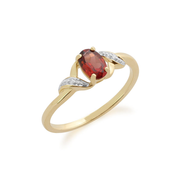 Gemondo 9ct Yellow Gold 0.55ct Garnet & Diamond Ring Image 1