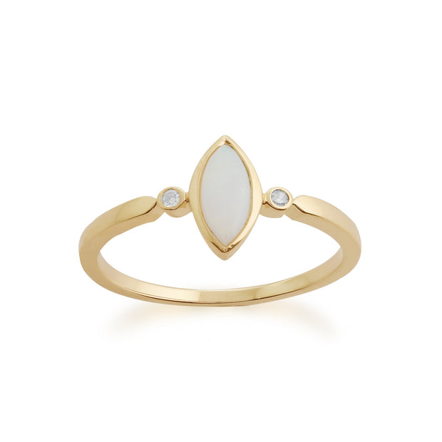 Gemondo 9ct Yellow Gold 0.25ct Opal & Diamond Ring Image 2