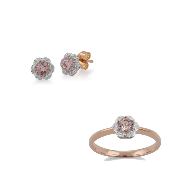 Floral Morganite & Diamond Earring & Ring Set Image 1