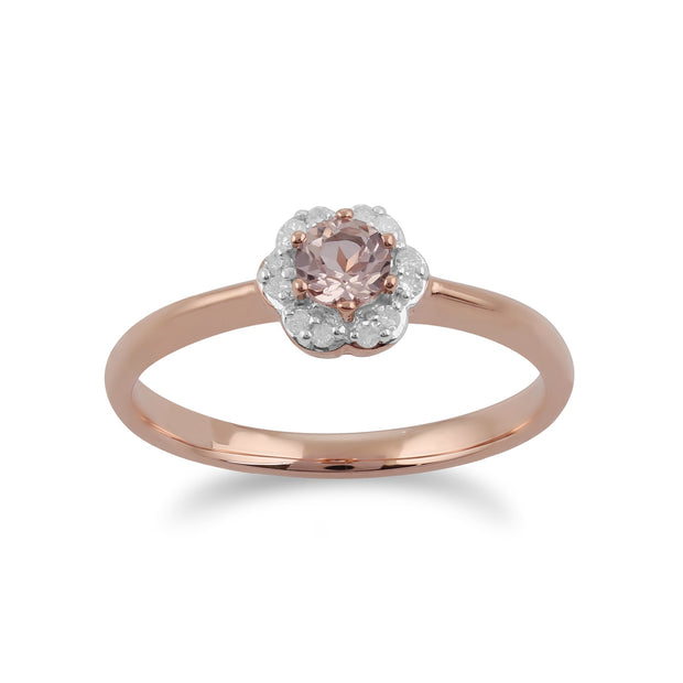 Morganite and Diamond Flower Ring Image 1