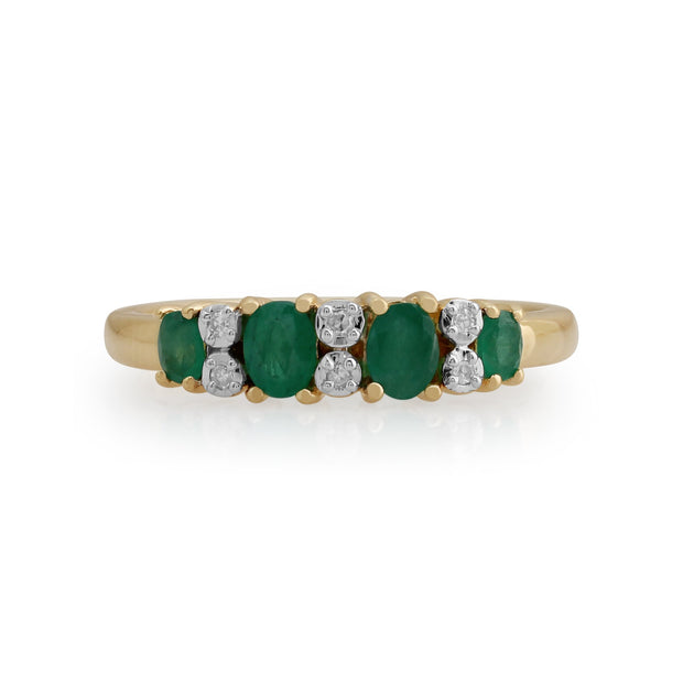 Gemondo 9ct Yellow Gold 0.53ct Emerald & Diamond Half Eternity Ring Image 1
