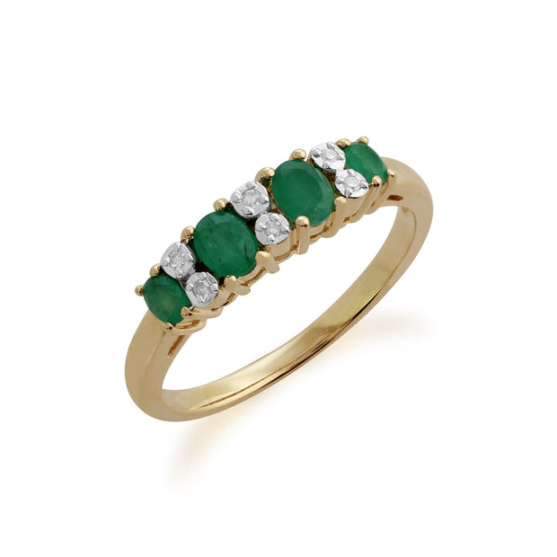 Gemondo 9ct Yellow Gold 0.53ct Emerald & Diamond Half Eternity Ring Image 2