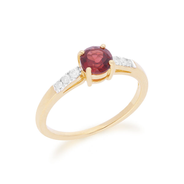 Gemondo 9ct Yellow Gold Mozambique Garnet & Diamond Round Cut Ring Image 2