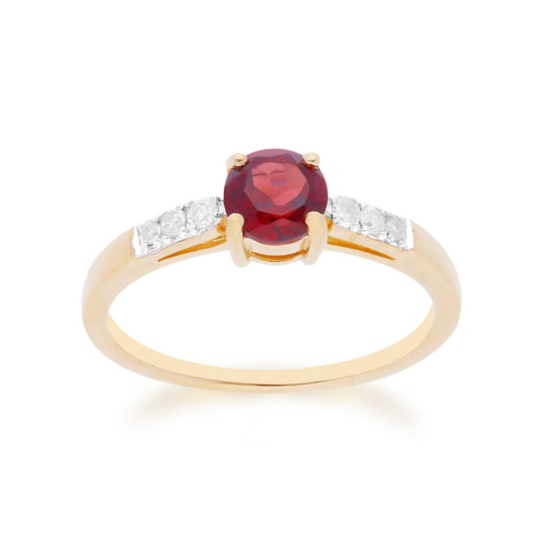 Gemondo 9ct Yellow Gold Mozambique Garnet & Diamond Round Cut Ring Image 1