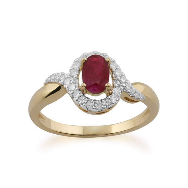 Ruby and Diamond Twist Ring Image 1