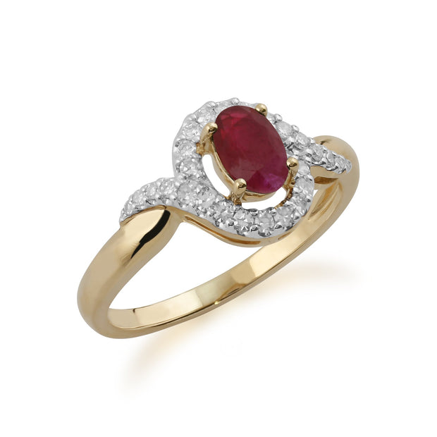 Ruby and Diamond Twist Ring Image 2