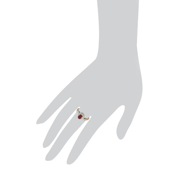 Ruby and Diamond Twist Ring Image 3
