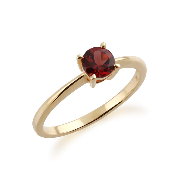 Gemondo 9ct Yellow Gold Mozambique Garnet Round Cut Single Stone Ring Image 2
