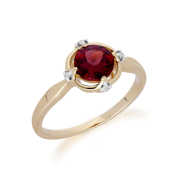 Gemondo 9ct Yellow Gold Halo Mozambique Garnet & Diamond Round Cut Ring Image 2
