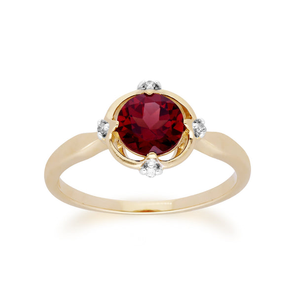 Gemondo 9ct Yellow Gold Halo Mozambique Garnet & Diamond Round Cut Ring Image 1
