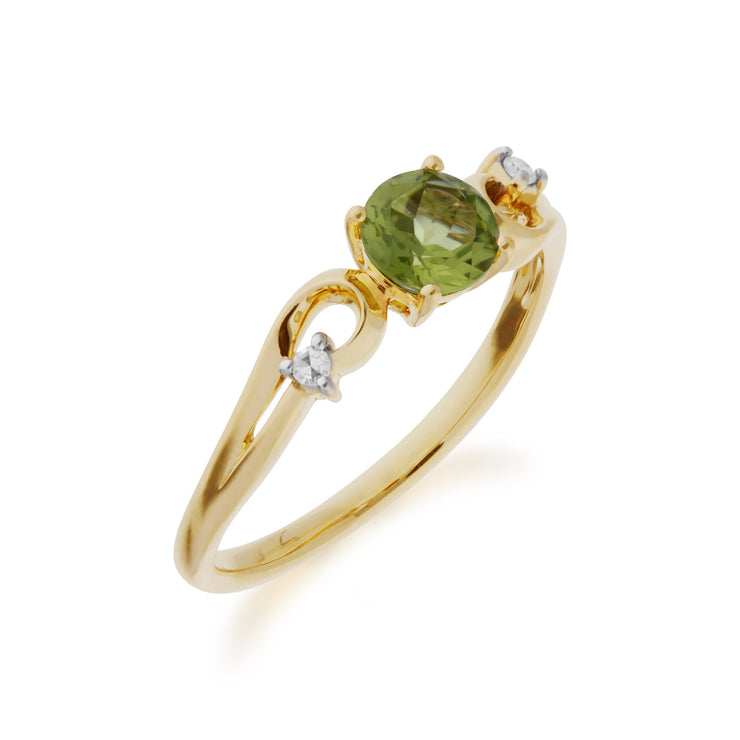 Peridot and Diamond Dress Ring Image 2