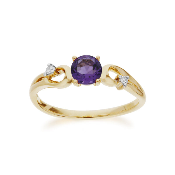 Amethyst and Diamond Dress Ring Image 1