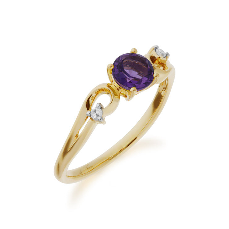 Amethyst and Diamond Dress Ring Image 2