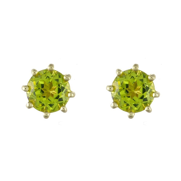 9ct Yellow Gold 0.96ct Natural Peridot Classic Round Stud Earrings 5mm Image