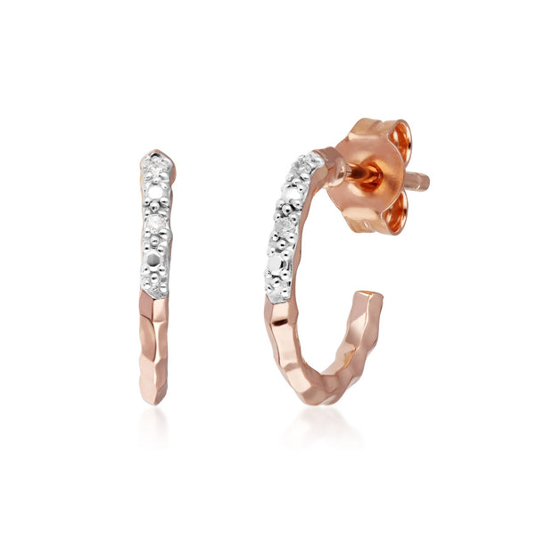 Diamond Pavé Hammered Mini Hoop Earrings in 9ct Rose Gold