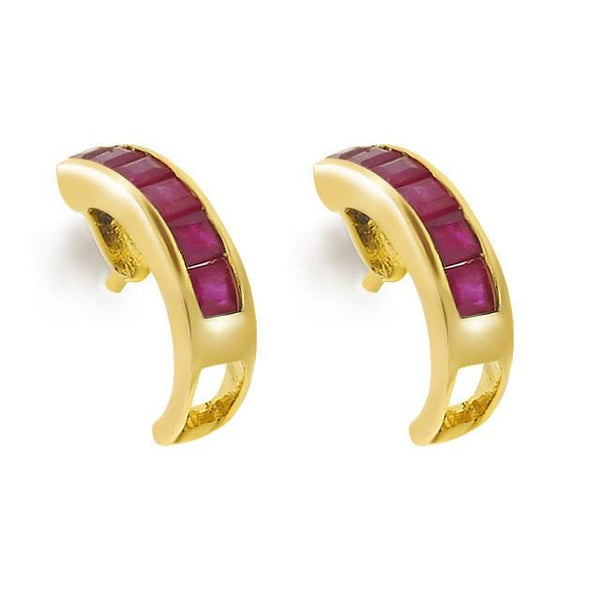 9ct Yellow Gold 0.68ct Natural Ruby Half Hoop Earrings Image