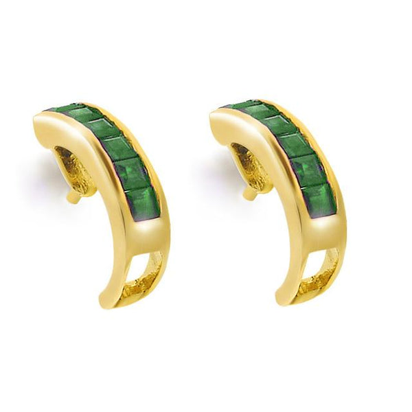 9ct Yellow Gold 0.43ct Princess Cut Emerald Classic Half Hoop Earrings Image