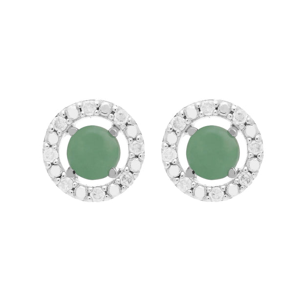 Classic Jade Stud Earrings and Diamond Round Ear Jacket Image 1