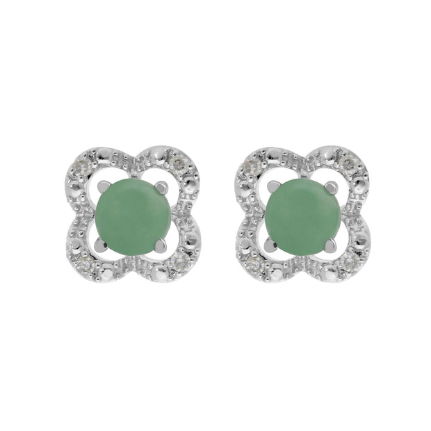 Classic Jade Stud Earrings & Diamond Flower Ear Jacket Image 1