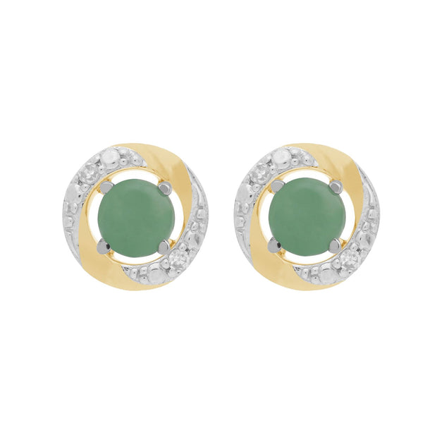 9ct White Gold Jade Stud Earrings & Diamond Halo Ear Jacket Image 1