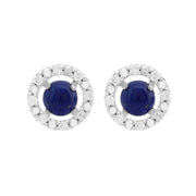 Classic Lapis Lazuli Stud Earrings & Diamond Round Ear Jacket Image 1