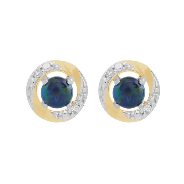 9ct White Gold Triplet Opal Stud Earrings & Diamond Halo Ear Jacket Image 1