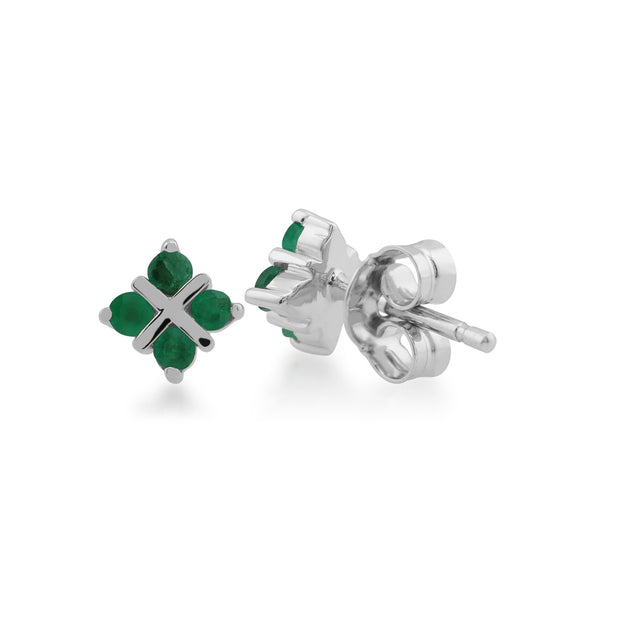 Floral Emerald Clover Kiss Stud Earrings Image 2