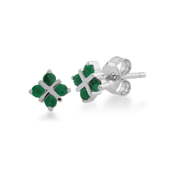 Floral Emerald Clover Kiss Stud Earrings Image 1