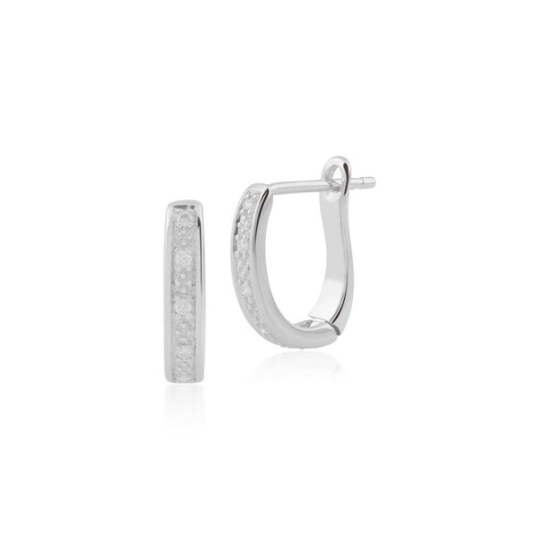 Gemondo 9ct White Gold Diamond Hoop Earrings Image