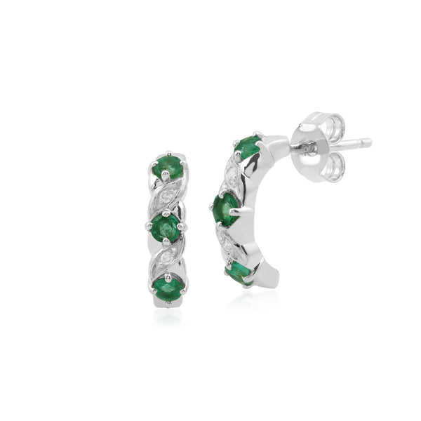 Classic Emerald & Diamond Half Hoop Earrings Image 1