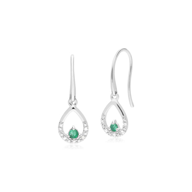 Classic Emerald & Diamond Pear Drop Earrings Image 1
