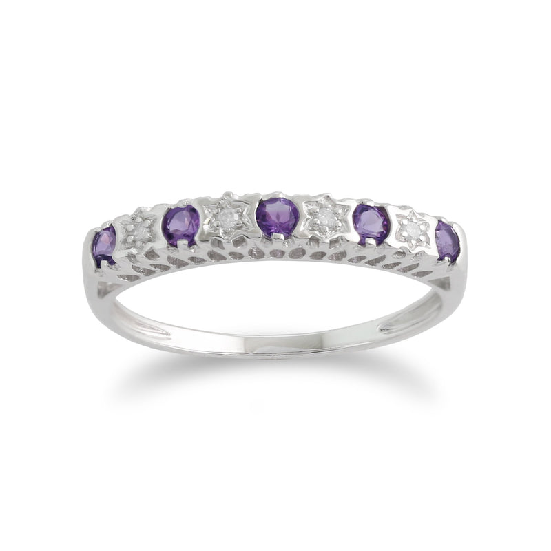 Amethyst & Diamond Half Eternity Ring Image 1
