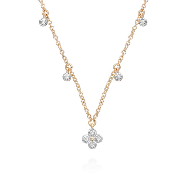 Diamond Flowers Choker Charm Necklace in 9ct Yellow Gold