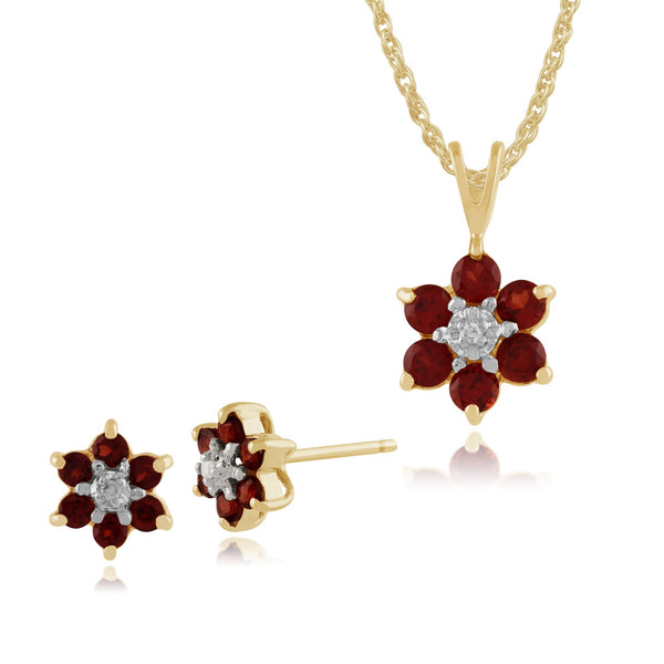 Floral Garnet & Diamond Cluster Stud Earrings & Pendant Set Image 1