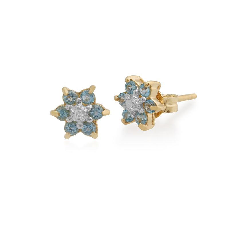 Floral Blue Topaz & Diamond Cluster Stud Earrings Image 1