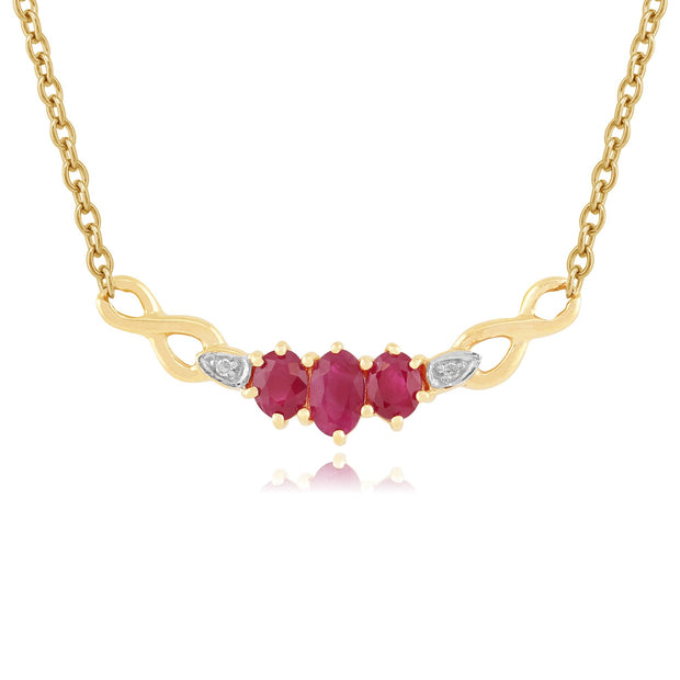 Classic Oval Ruby & Diamond Necklace in 9ct Yellow Gold