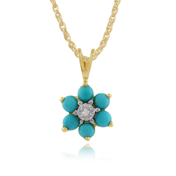 Floral Turquoise & Diamond Pendant on Chain Image 1
