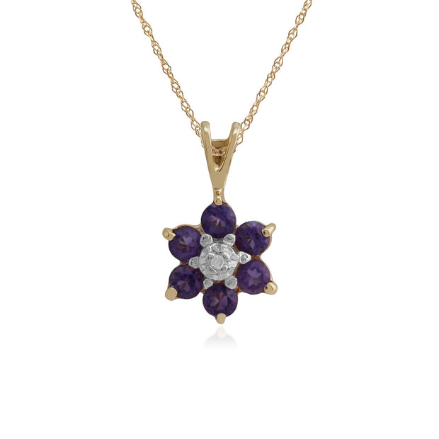 Floral Amethyst & Diamond Cluster Pendant Image 1